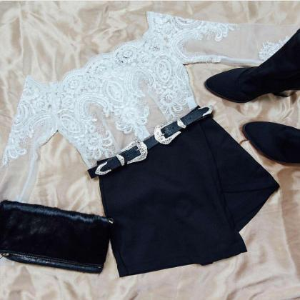 Womens Sexy Lace Long Sleeve Crop T..