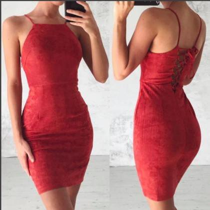 Dress Women Pure Color Sexy Slim St..