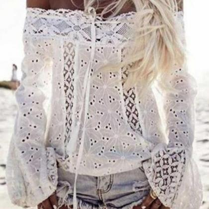Shirt Women White Sexy Lace Tassel ..
