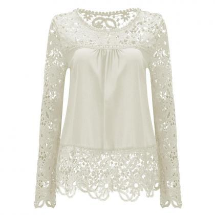 Womens Sheer Sleeve Embroidery Lace..