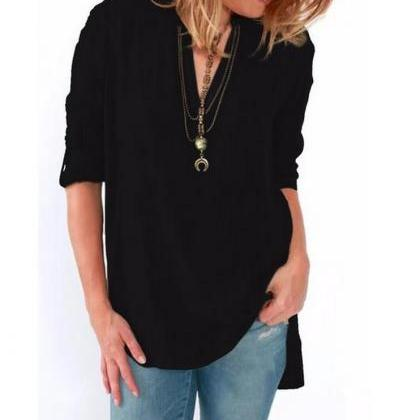 2017 New Fashion Womens Blouse Long..