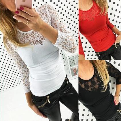Womens Sexy Lace Collar Long Sleeve..