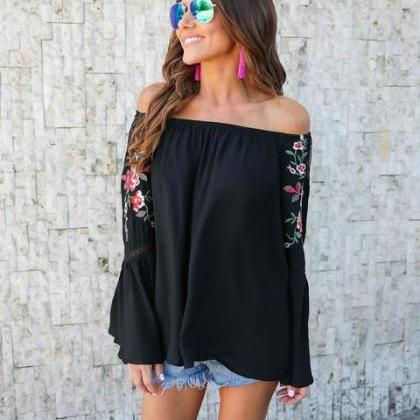 Floral Print Off-The-Shoulder Long ..