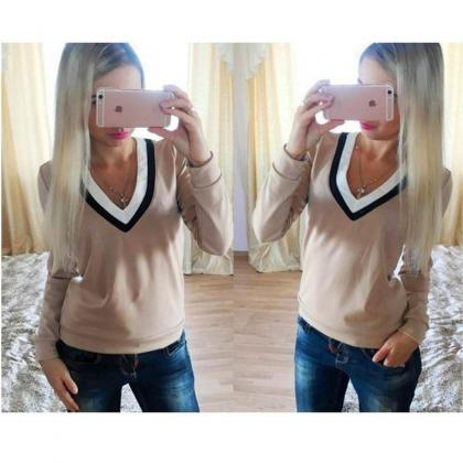 Women Fashion V-neck Long Sleeves T..