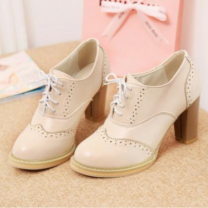 Women'S Punk Pointed Toe Lace Up Pl..