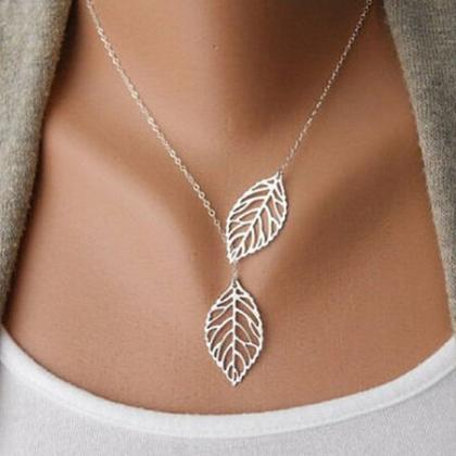 Simple Metal Double Leaf Pendant Al..