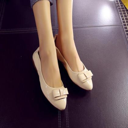 Pointed Toe Glossy Ribbon Travel Ba..