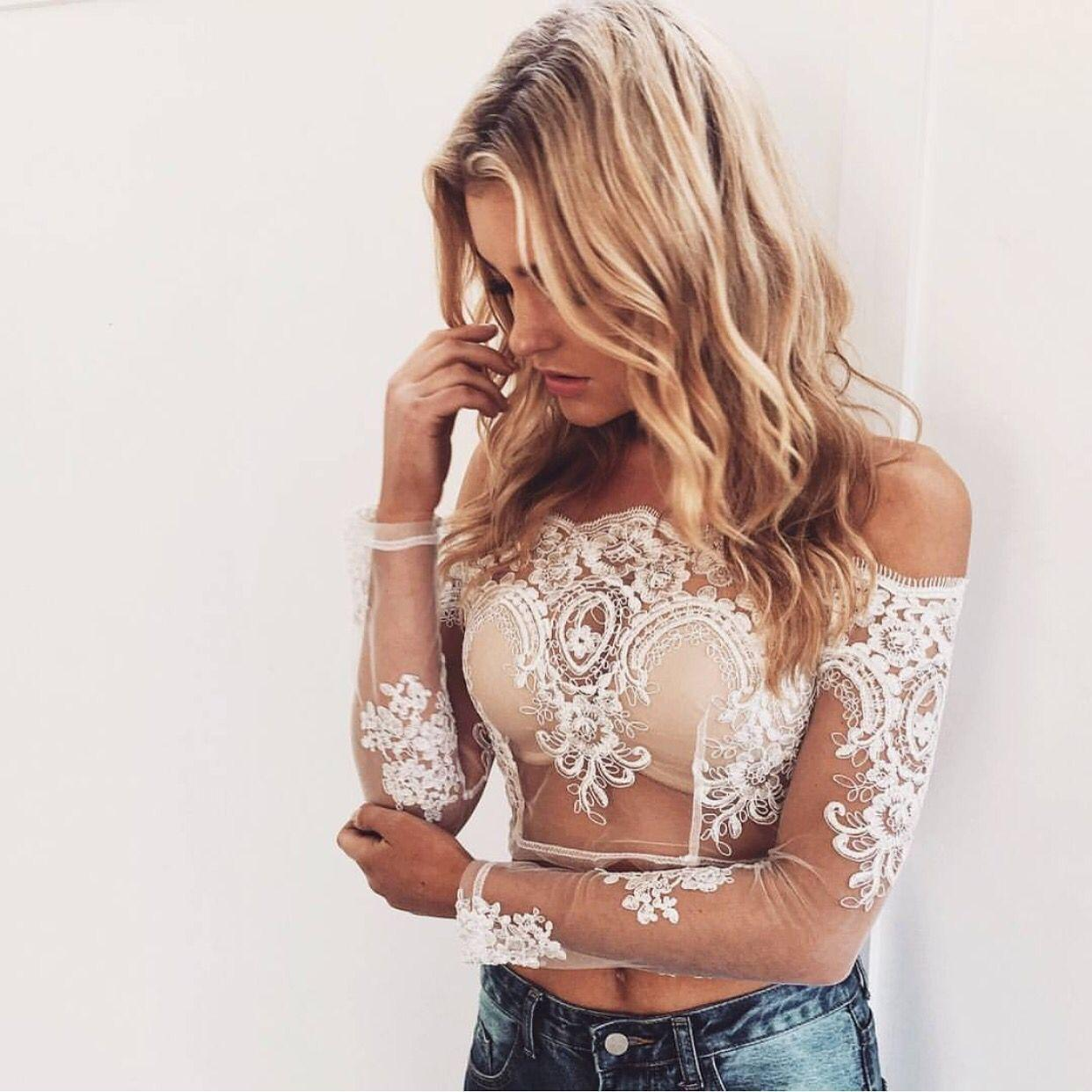 Womens Sexy Lace Long Sleeve Crop Top Blouse