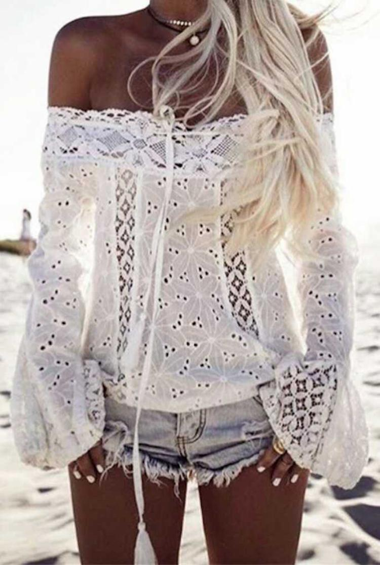 Shirt Women White Sexy Lace Tassel Slim Off Shoulder