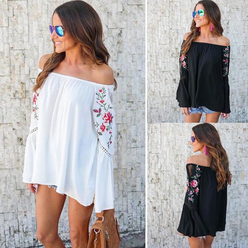 Floral Print Off-The-Shoulder Long Flared Sleeves Top