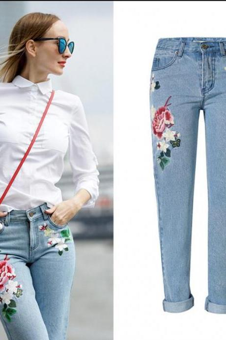 Jeans Women Slim 3d Embroided Rose Flower Printed