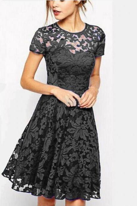 Dress Women Pure Color Round Neck Lace Floral Short Sleeve