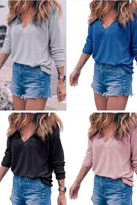 2017 Womens Full Sleeved Knit Solid Loose V-neck Sweater