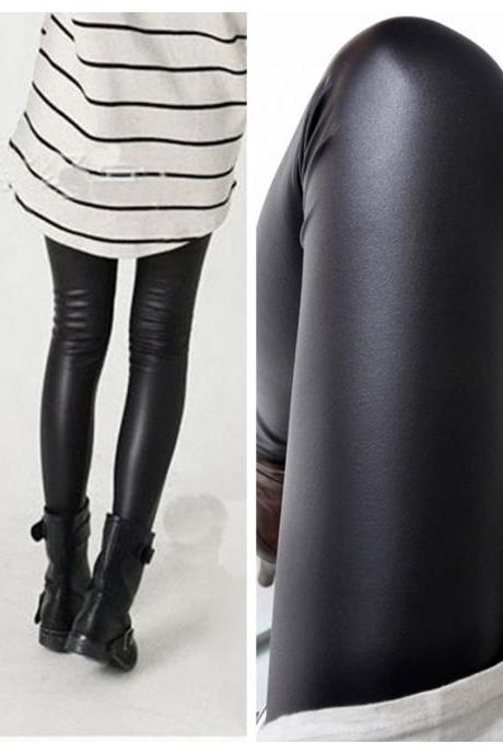 Women black leggings High elasticity sexy pants faux leather high quality slim leggings Sans velours