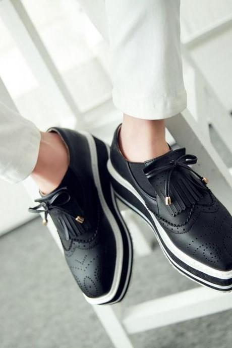Women's Pure Color Flat Heel Bowknot Flower Sneakers