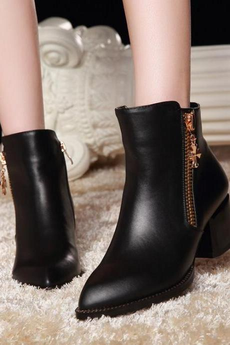 Women's Faux Leather Pointed Toe Ankle Boots Adorned with Charm on Zipper Closure