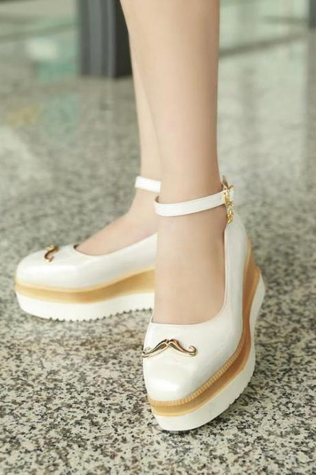 Women's Pure Color Square Toe Ankle Strap Platform Sandals Slippers