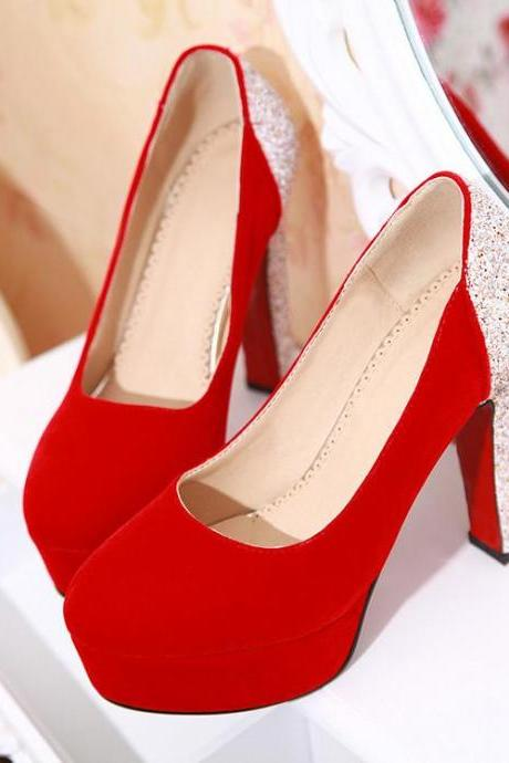 Women's Colour-matching Round Toe High Heel Pump
