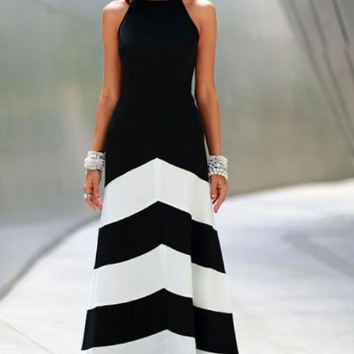 Women Elegant Summer Black and white striped long dress