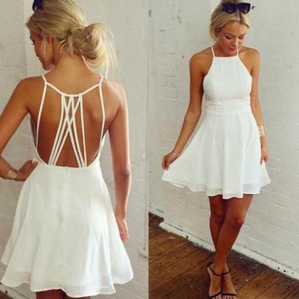 Fashion Halter White Homecoming Dress Short Party Dresses Bridsmaid Dresses