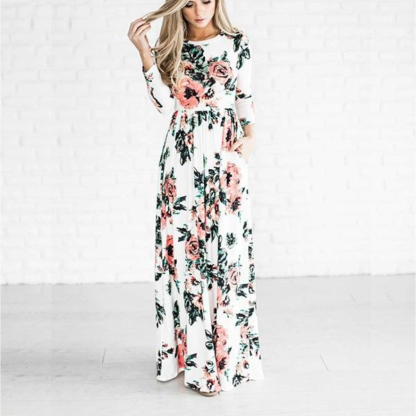 Mini Dresses Women Fashion Spring 3/4 Sleeve Floral Printed