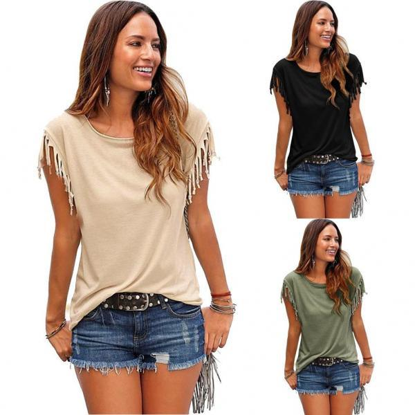 Womens Pure Color Sleeveless Tassel O-neck Tshirt