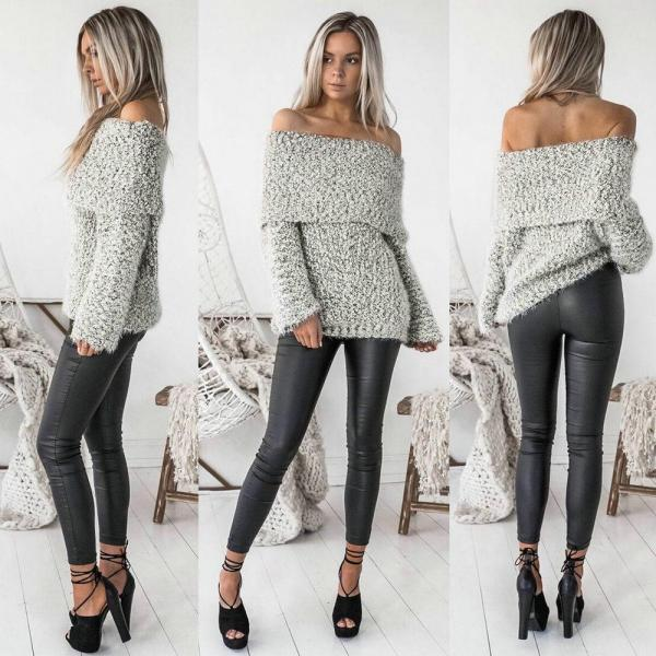 Womens Sexy Off Shoulder Jumper Slash Neck Long Sleeve Knitted Pullovers