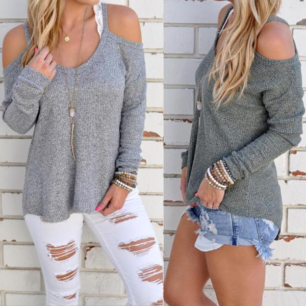 Womens Sexy Off Shoulder Blouse Sweater