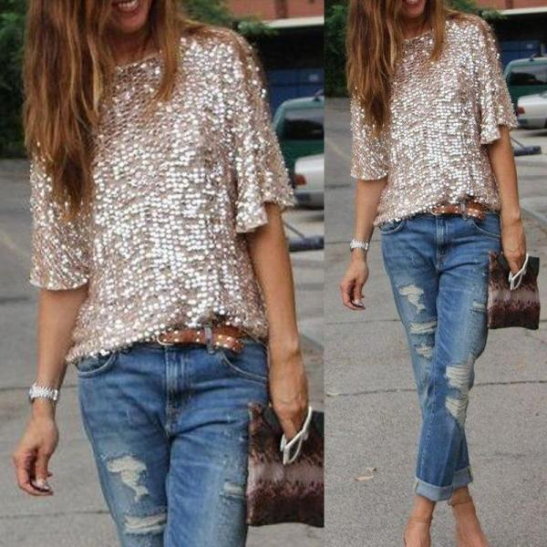2017 High Street Sexy Sequined Oblique Loose T-shirt Women T Shirt Summer Style