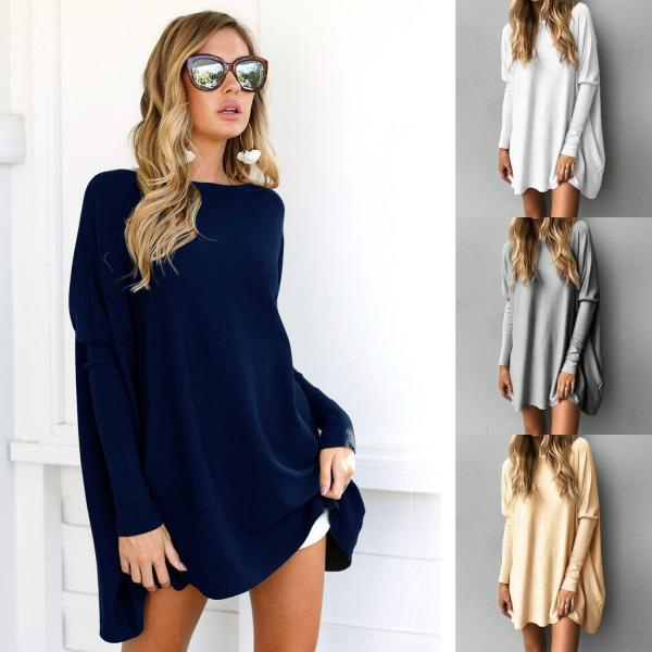 Hot Sale Autumn Winter Womens Loose Casual Long Sleeved O-neck Knit Sweater