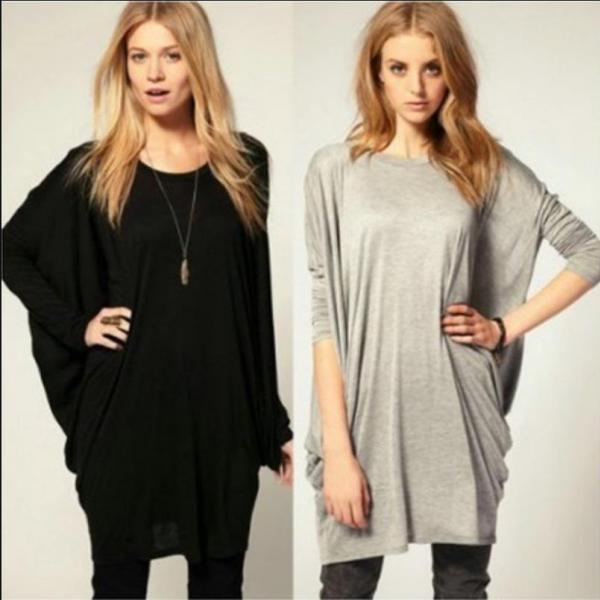 2018 Womens Loose Solid Extra Long Blouse