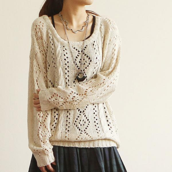 Fashion Apricot Sleeved Sweater&Cardigan