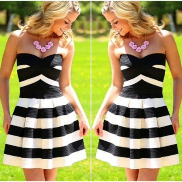 Cute And Sexy Striped Off Shoulder Dress