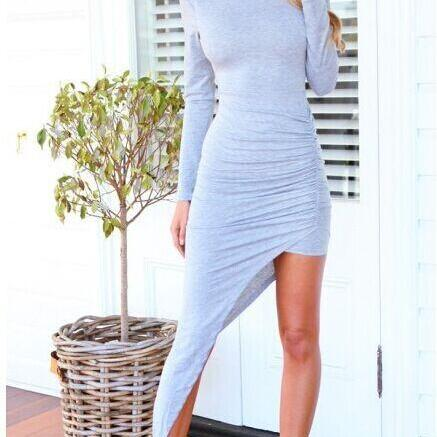 Long Sleeve Irregular Conjoined Dress
