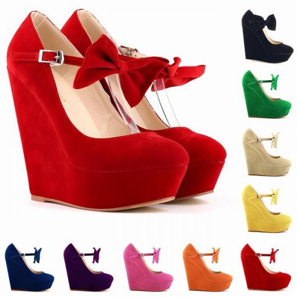 LADIES WOMENS ANKLE STRAPS BOWS WEDGED PLATFORMS WEDGES HIGH HEELS SHOES