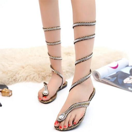 Snake winding diamond clip toe strap flat sandals 1
