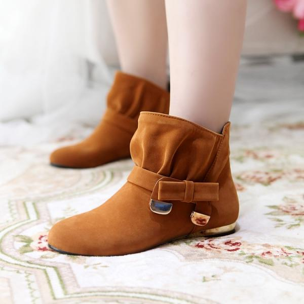 Women's Pure Color Low Heel Suede Bowknot Short Martin Boots