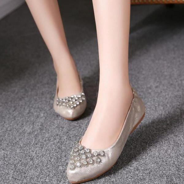 Ballet Flats Women Summer Fashion Recreational Qualities Of Solid Color Rhinestones