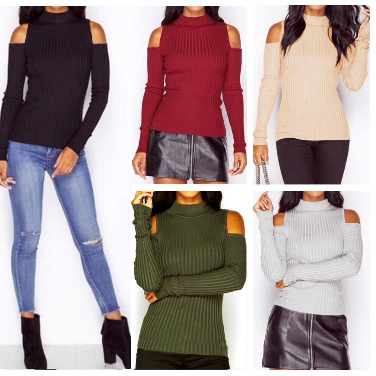 104fe214607 Hot Sale Womens Loose Casual Long Sleeved Off Shoulder Solid Knit Sweater